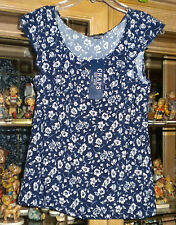 NWT Chaps by Ralph Lauren Navy Blue & Pearl Floral Ruffle Top L