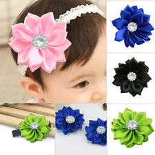 10Pcs DIY Satin Ribbon Flowers with Crystal Beads Appliques Craft Wedding Color