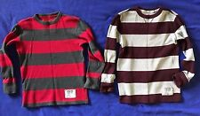 2 Aeropostale PS kids THERMAL waffle knit STRIPED long-sleeve SHIRTS boys 8 LOT