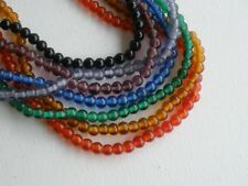 """Old Glass 4mm Round Beads You CHOOSE Color 16"""" Strand"""