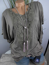 sheego Viscose Blouse Shirt Size 40 - 46 Short Sleeve With Embroidery (910) NEW