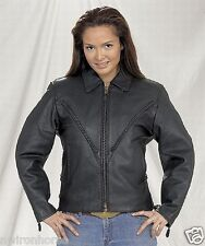Naked Leather Jacket w/Braiding Very Stylish Sizes XS to 2XL New Ladies L249~01