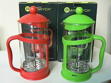 NEW - 8 Cup Cafetiere with Red or Green Plastic Frame (BNIB)