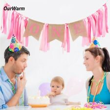 OurWarm® First 1st Birthday Party Highchair Banner Boy Girl Baby Decorations