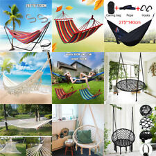 16 Type Hanging Hammock Cotton Woven Rope Wooden Bar Swing Patio Chair Seat