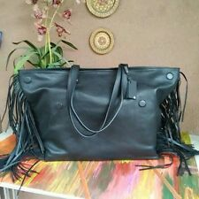 NEW MASSIMO DUTTI ZARA LARGE BLACK COW LEATHER SHOPPER TOTE BAG WITH FRINGES