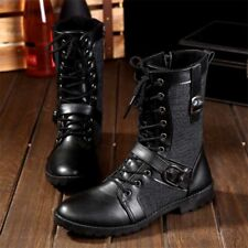 Mens Fashion Motorcycle Tactical Ankle Boots Army Military Comfort Lace Up Shoes