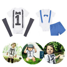 Infant Baby Boys ONE First Birthday Romper Cotton Bodysuit Jumpsuit Outfit Set