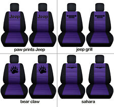 Fit JK wrangler  front car seat covers blk-purple w/ jeep grill, bear claw...