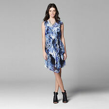 New Simply Vera Vera Wang Women Splatter Drape-Front Dress Blue Multi Variety Sz