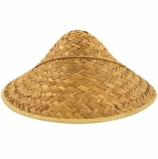 Unisex Chinese Oriental Straw Coolie Hat Adults Fancy Party Supplies Accessory