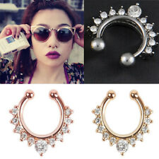 1x Fake Septum Clicker Crystal Nose Ring Non Piercing Hanger Clip On Jewelry New