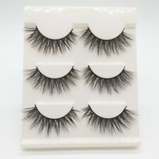 Gam-Belle®3 pairs/set 3D Natural Bushy Makeup Cluster Cross False Eyelashes Faux