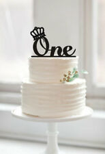 Buythrow® One Cake Topper First Birthday Cake Topper With Crown Monogram ONE