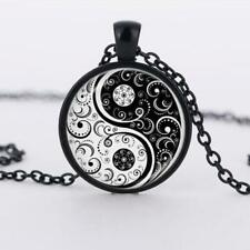 Hot Pendant Necklace Cabochon Glass Tibet Yin Yang Flower Silver Chain Alloy