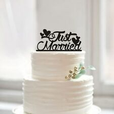 Buythrow® Just Married Cake Topper Unique Wedding Rustic Heart Cake