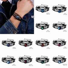 12 Constellation Bracelets Men Leather Bangle Accessories Women Girls Jewelry