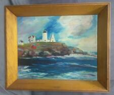 Vintage Old Coastal Landscape Oil Painting Signed Lighthouse Beach Seascape Art