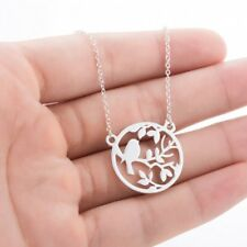 Fashion Stainless Steel Silver Hollow Animal Bird Pendant Necklace Lady Jewelry