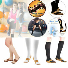 1 Pair Copper Infused Compression Socks 20-30mmHg Graduated For Sports Men Women