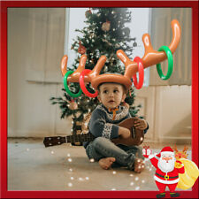 2019 Christmas Inflatable Reindeer Antler Hat Ring Toss Game Toys Moose Props US