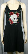ED HARDY Skull Rose RHINESTONES Chain Dress Black