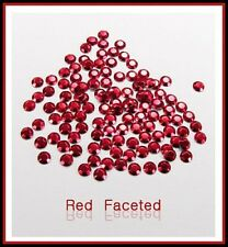 Red  Hotfix Iron on Rhinestuds faceted, size 2, 3, 4mm