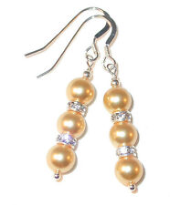 GOLD Pearl Earrings Swarovski Crystal Elements Sterling Silver Dangle