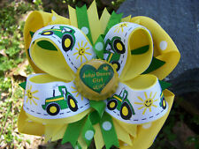 JOHN DEERE TRACTOR GIRL 4 EVER BOTTLECAP HAIRBOW