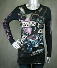 Ed Hardy Women's Long Sleeve Disco Love Kills Slowly T