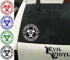 Zombie Outbreak Response Team Decal Walking Living Dead Horror Sticker ANY SIZE