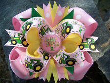 "PINK JOHN DEERE ""DADDY'S LITTLE GIRL"" BOTTLECAP HAIRBOW"