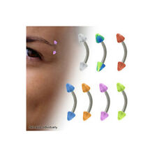 Curved Barbell 16G Eyebrow Ring with Acrylic Spike Beads - 7 Colors Available