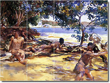 S-M-L-XL John Sargent Waterfront Scenes Painting Bathroom Shower Tile Murals