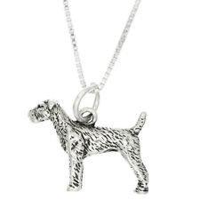 STERLING SILVER AIREDALE TERRIER DOG CHARM WITH BOX CHAIN NECKLACE