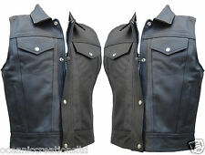 CUT - OFF BLACK LEATHER MOTORBIKE MOTORCYCLE WAISTCOAT