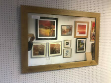 """NEW LARGE 2 1/4"""" MODERN FLAT LIGHT OAK STAINDED PINE OVERMANTLE WALL MIRROR"""