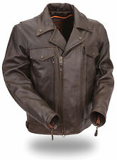 Men's Brown Dual Side Utility Pocket Leather Jacket HD244 for Motorcycle Riders