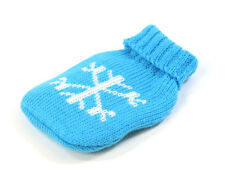 REUSABLE HOT WATER BOTTLE DESIGN HAND WARMER & KNITTED COVER - PINK BLUE WHITE