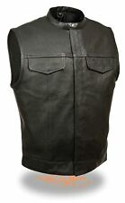 Men's SOA Leather Vest w/ 2 Inside Leather Drop Pockets FIM640-CSL