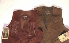 New Ladies Western Suede Leather Fringe Vest Large rodeo cowgirl barrel racer 89
