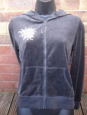 CAPRICE VELOUR HOODED CHARCOAL FULL ZIP JACKET SIZE 12-14 RRP £45