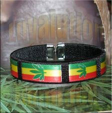 Rasta Cannabis Leaf Bracelet Cuff Marijuana Pot 420 Red Gold Green Black Blue