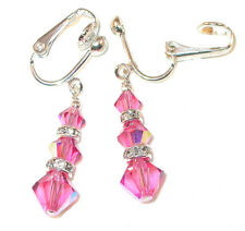 ROSE PINK Crystal Earrings Sterling Silver Handcrafted Dangle Swarovski Elements