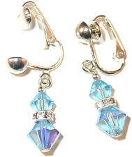 AQUAMARINE Blue Crystal Earrings Sterling Silver Swarovski Elements