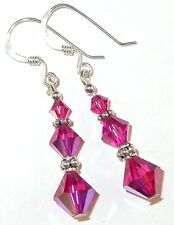 SWAROVSKI CRYSTAL ELEMENTS Sterling Silver Earrings FUCHSIA Pink Pierced Clip-on