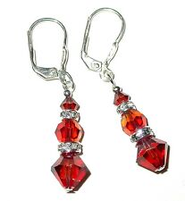 RED MAGMA Crystal Earrings Sterling Silver Handcrafted Dangle Swarovski Elements