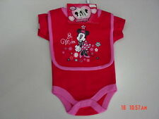NWT Disney Baby Girl Valentines Bib Creeper Set Minnie Mouse NEW UNUSED
