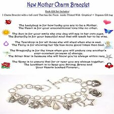 New Mother Boy or Girl  Baby Shower Idea Charm Bracelet themed poem organza bag