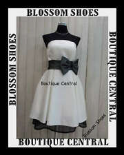 COCKTAIL PROM EVENING FORMAL PARTY DRESS IVORY/BLACK BOW 8 10 12 14 NEW